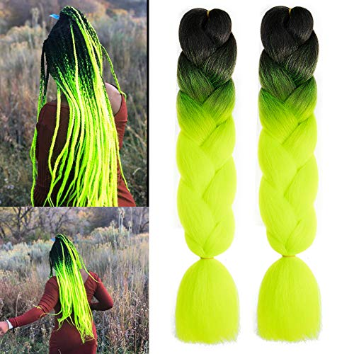 MSBELLE 5PCS 24Inch Kanekalon Synthetic Braiding Hair Extensions Ombre Jumbo Braids Hair Black to Yellow Green