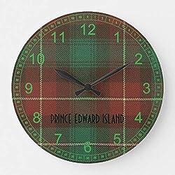 McC538arthy 15 Inch Wooden Round Wall Clock, Prince Edward Island Tartan Christmas Clock Farmhouse Wall Decor for Kitchen, Living Room, Bedroom, Office