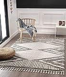 Vera Super Weicher Wohnzimmer Teppich, Handmade-Look, Fransen, 3D Effekt, Geometrisches Muster, Hochflor 30 mm, 120x170 cm