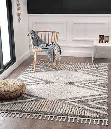 Vera Super Weicher Wohnzimmer Teppich, Handmade-Look, Fransen, 3D Effekt, Geometrisches Muster, Hochflor 30 mm, 160x230 cm