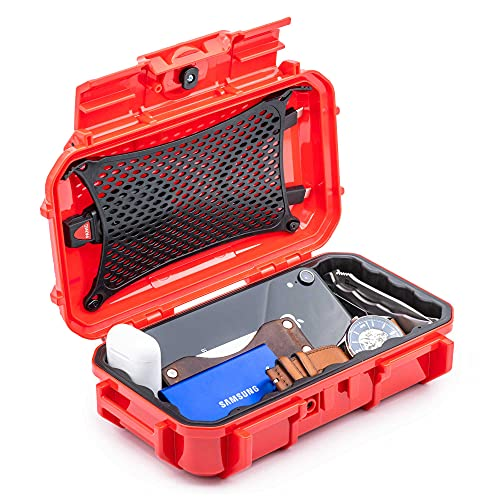 Evergreen 56 Waterproof Dry Box Protective Case - Travel Safe Mil Spec USA Made - for Tackle Organization of Cameras, Phones, Camping, Fishing, Hiking, EDC, Water Sports, Knives (Red)