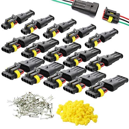 15 Set Wasserdicht Stecker Steckverbinder,Zuzer Verbessert PA66 Nylon Gehäuse 1.5mm Serie Auto Wasserdicht Schnellverbinder 2 3 4 Polig