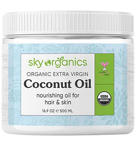 Organic Extra Virgin Coconut Oil by Sky Organics (16.9 oz) USDA Organic Coconut Oil Cold-Pressed Kosher Cruelty-Free Unrefined Coconut Skin Moisturizer Hair Mask