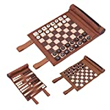 Woodronic 3 in 1 Backgammon Chess Checkers Set, Roll Up Travel Game Set for Adults and Kids, Brown, 9.3'' x 8.3''