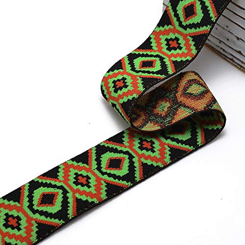 2' (50mm) Elastic Stretch Ribbon Trim, Stretch Elastic Band, Headband, Hand Band and Waist Belt by 1 Yard, Green/Orange/Black, TR-11191