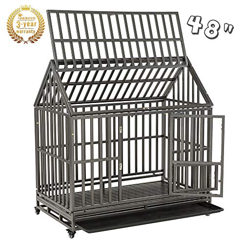 SMONTER 48' Heavy Duty Strong Metal Dog Cage...