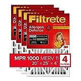 Filtrete 20x25x4, AC Furnace Air Filter, MPR 1000 DP, Micro Allergen Defense Deep Pleat, 4-Pack (actual dimensions 19.88 x 24.63 x 4.31)