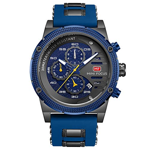 JTTM Relojes para Hombres, Analógico De Cuarzo Reloj Impermeable Deportivo Cronógrafo Correa De Cuero Fecha para Regalo,Black Blue