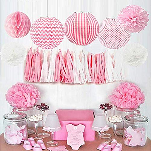 HappyField Baby Girl Baby Shower Decoraciones Fiesta de cumpleaños de la niña Decoraciones Papel Pompoms Linternas de papel Bolas de nido de abeja Bebé Rosa Suministros para fiestas