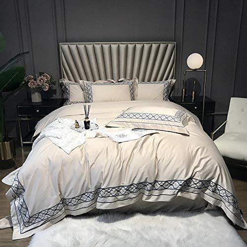 QUILT Hotel high-end bed 4-delige set 100S lange nietje katoen jacquard ambachtelijke breed gerande eenvoudige atmosferische beddengoed wit roze laken cover 2 kussensloop
