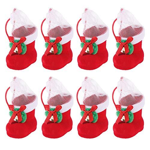 Guanici Botas de Caramelo de Navidad Ornamento del árbol de Navidad Decoración de Colgantes Colgantes para llenar Botas de Regalo flocadas decoración navideña Soporte para Dulces 8 Piezas (Rojo)