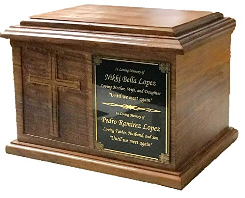 Extra Large Cross Wooden Funeral Cremation Ash Urn, Companion Human Cremation Urn, Double Urn with customized name plate