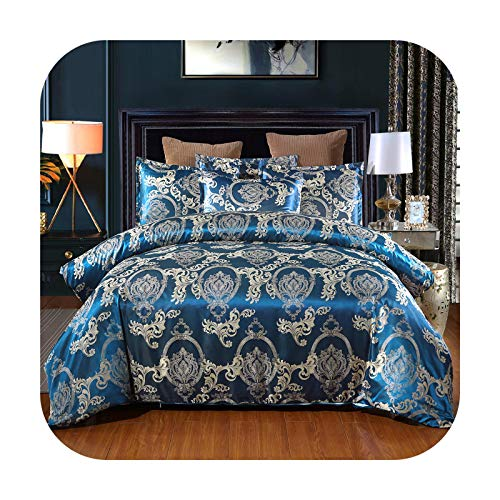 Bedspread Satin Jacquard Bedding Set Luxury Blue Bed Comforter King Size Silk Bed Linens European Style Duvet Cover Queen-Style 1-228X228Cm (Us Queen)