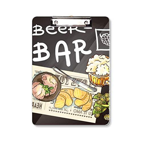 Steak Bar Frankrijk Toast Bier Clipboard Folder Schrijven Pad Backing Plate A4