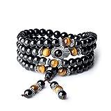 coai Geschenkideen Unisex 108 Obsidian Tigerauge Buddhistische Mala Kette Gebetsarmband Glücksarmband Halskette