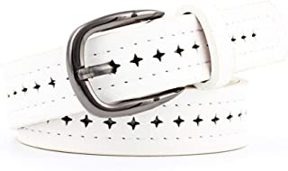 SGJFZD New Creative Punching Belt Fashionable Wild Alloy Pin Buckle Belt Ladies Belt (Color : White, Size : 103 * 2.5CM)