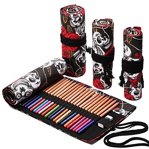Funny live 36/48/72 Slots Colored Pencil Wrap Pencils Roll Holder Coloring Pencils Organizer Holder Colored Pen Paint Brush Storage Pouch Portable for Artist Student (Rose Skull, 72 Slots)