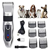 Dog Clippers Cordless Rechargeable Professional Pet Clippers,Low Noise Pets Trimmer Pet Hair Grooming Kit with 6 Comb Guides and Cleaning Brush,LCD Screen Display The Charge Level,for Dogs Cats Pets