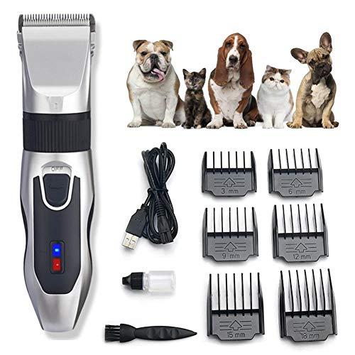Cortapelos eléctrico para perros, perros, gatos, mascotas, con 6 accesorios, cortapelos para animales inalámbrico, recargable