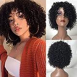 TOOCCI Wig Pixie Cut Curly Pelucas cortas rizada con flequillo de cabello humano 100% sin procesar cabello virgen brasileño Afro Curly Wave Pelucas Negro natural para mujer