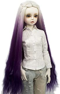 MUZI WIG Doll Hair Wigs, Heat Resistant Fiber Long Deep Wave Curly White Purple Doll Hair BJD Doll Wig for 1/3 BJD Doll