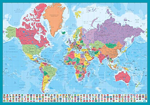 Grupo Erik Editores TSIT001 Sottomano Mulitifunzione Mappa del Mondo in Italiano, Ideale Come Sottomano Scrivania o Tovaglietta Colazione, 49,5X34,5 Cm