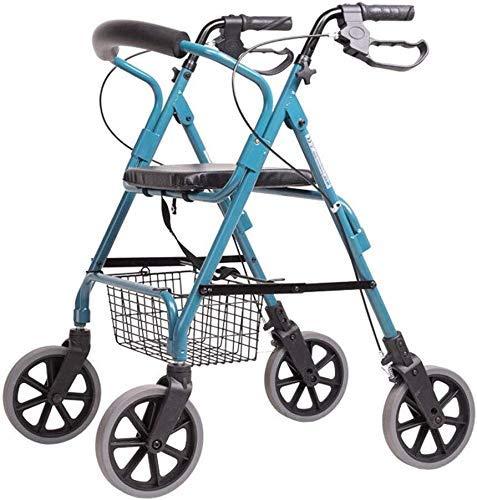XY-YZGF Old Man Einkaufswagen, Old Man Trolley Walker Aluminiumlegierung Vierrad-faltbarer mit Sitz