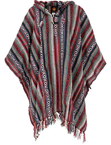 Guru-Shop Poncho Hippie Chic, Ethno Poncho, Andenponcho, Herren/Damen, Rot/schwarz, Baumwolle, Size:One Size, Jacken, Strickjacken, Ponchos Alternative Bekleidung