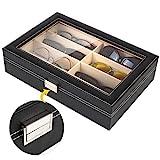 Custodia esterna è realizzata in materiale nero PU di alta qualità, molto resistente ed elegante. All'interno è effettuato in beige MDF e flanella, protegge gli occhiali da graffi o sporcizia. Dimensione totale di 33.5*22.5*8 cm, ha 8 scomparti, dime...