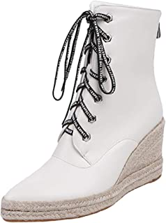 Melady Women Fashion Lace up Booties Wedge Heels Zipper