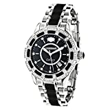 LUXURMAN Galaxy Midsize Diamond Watch for Men and Women Stainless Steel and Black Ceramic 1.25ct