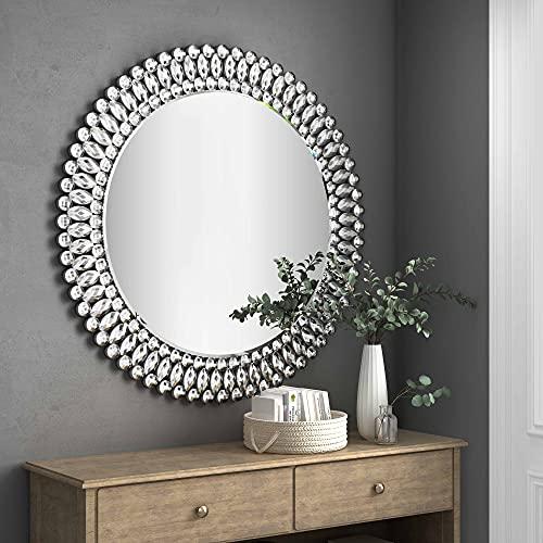 MUAUSU Round Decorative Wall Mirror - Elegant Crystal Accent Circle Mirrors Large Modern Luxury Diamond Fancy Silver Mirror 32