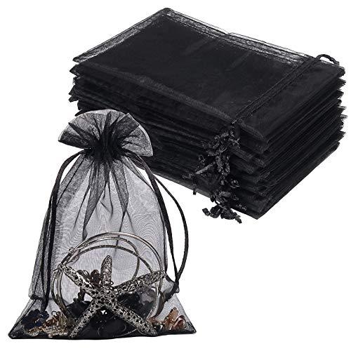 YQL 100 bolsas de regalo de organza negras, 10 x 15 cm, bolsas de regalo con cordón para joyas, maquillaje, dulces, baby shower, fiesta de Navidad, embalaje