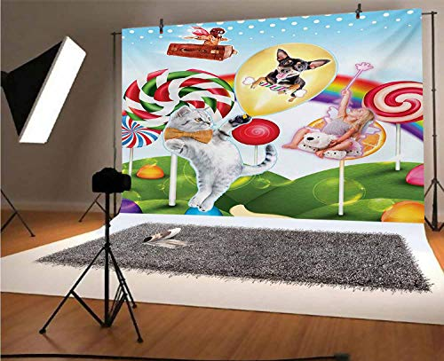 Kids 5x3 FT Vinyl Photography Background Backdrops,Colorful Fantasy Land Rainbow Candy Trees Cat Dog Fairy Girl Boy Flying in Suitcase Background for Graduation Prom Dance Decor Photo Booth Studio Pro