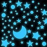 Roucerlin - Adesivi da parete a pois stellati che si illuminano al buio, con luna luminosa, decorazione da soffitto per il cielo stellato, per bambini e ba (138 stelle, blu)mbine