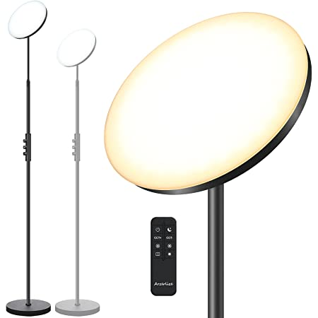 Floor Lamp, Arzerlize 30W 2500 lumens Height Adjustable Floor Lamps for Living Room Stepless Dimmable Led Floor Lamp Multi Color Temperatures Super Bright Modern Floor Lamp with Remote Control