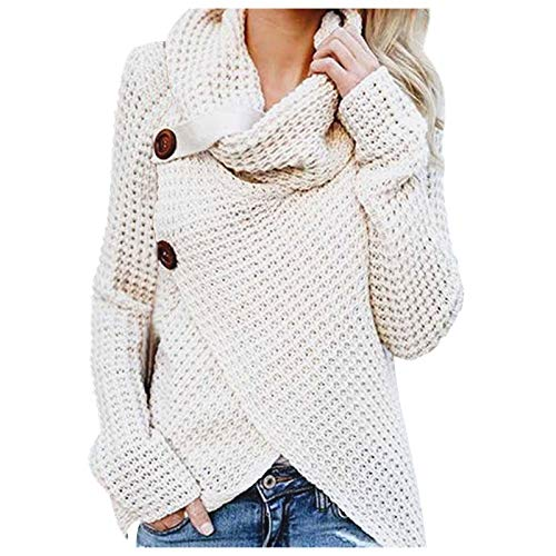 LEXUPE Women Long Sleeve Solid Sweatshirt Pullover Tops Blouse Shirt Knitted Sweater