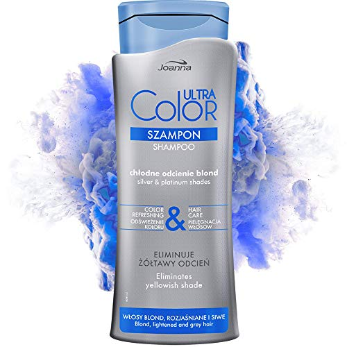 Joanna Ultra Color Shampooing pour nuances argent et platine Shampooing revitalisant fortifiant Rafraîchissant et soin des cheveux Neutralise la teinte jaunâtre Restaure toute la brillance 400 ml