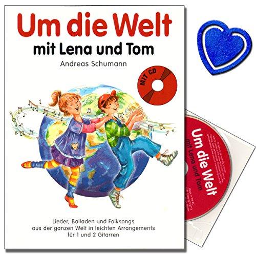 Um die Welt mit Lena und Tom - Songbook für Gitarre - Lieder, Balladen und Folksongs aus der ganzen Welt in leichten Arrangements für 1-2 Gitarren mit CD und bunter herzförmiger Notenklammer