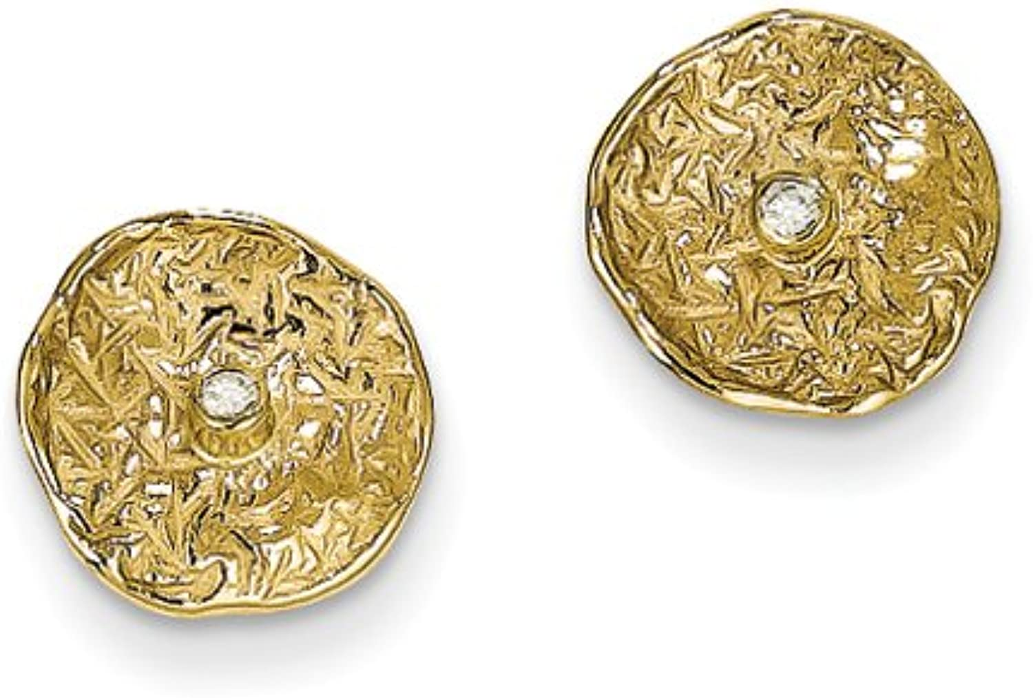 gold and Watches 14k Small Textured Circle Diamond