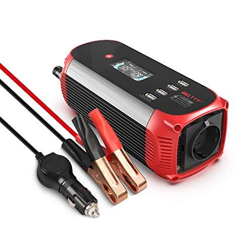 BELTTT Wechselrichter 500W / 12 V auf 230 V Spannungswandler/Konverter mit 4 USB Anschlüsse/mit digitalem Display inkl. Kfz Stecker