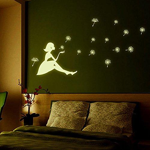 Zegeey Löwenzahn Mädchen Leuchtende Cartoon Kinder Wandaufkleber Papiere Kunst Vinyl Abnehmbare Schlafzimmer Wohnzimmer Home Applique Wandbild Dekor Aufkleber