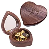 CLeader Lilium - Caja de música con movimiento musical de Elfen Lied Mini madera en forma de corazón regalos para cumpleaños, aniversario de Navidad (oro, nogal)