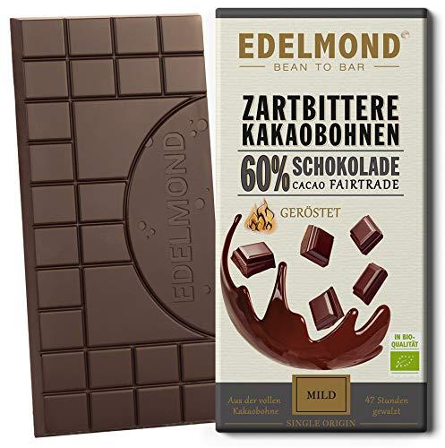 Edelmond Bio 60% Zartbitter Schokolade aus der vollen Kakaobohne gewalzt. Grand Cru Kakao, fruchtig und vollmundig. (1 Tafel)