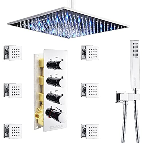 Bathroom Luxury 16 Inch LED Rain Shower Mixer Combo Set Ceiling Mounted Shower Head System with Body Spray, Rough-in Valve and Trim Included