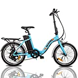 ECOTRIC 20' Folding Ebike City Bike Bicycle Alloy Frame 350W Gear Rear Motor 36V/10AH Removable Lithium Battery Pedal and Throttle Assist LED Display (Blue)