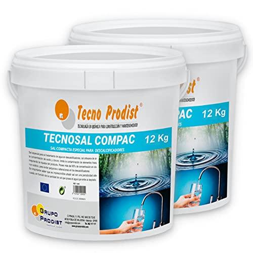Tecno Prodist TECNOSAL COMPAC- Sal compacta Especial para descalcificadores - Pack 2 Cubos de 12 kg Comodidad