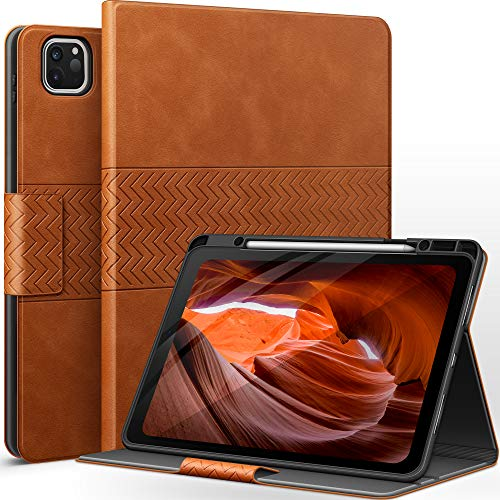 AUAUA Case for iPad Pro 12.9 2020/2018 (4th/3rd Generation) with Apple Pencil Holder Auto Sleep/Wake Function PU Leather Cover (Brown)