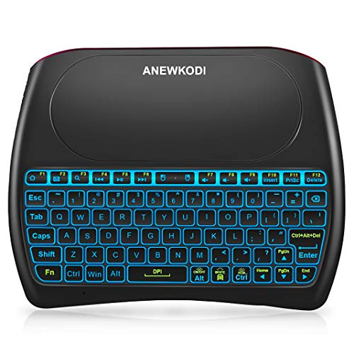 ANEWKODI 2.4GHz Mini Wireless Keyboard with Touchpad Mouse Combo, Rechargeable Li-ion Battery & Multi-Media Keys Handheld Remote Control Keyboard for Android TV Box, PC, X-Box