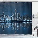 N\A Chicago Skyline Duschvorhang, schlafende Stadt dramatische städtische Ruhe amerikanische See Bild, Stoff Stoff Badezimmer Dekor Set mit Haken, Nachtblau